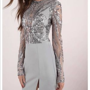 Grey Sequin Bodycon Dress